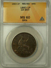 1883 Great Britain 1 Penny Coin Queen Victoria ANACS MS 60 Brown