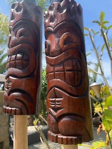 New Flame Head Tiki Torch set of 2 by Smokin' Tikis Hawaii fx