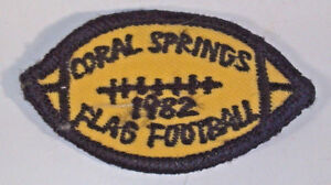 "Vintage 1982 Coral Springs Flag Football 2.25"" Patch Badge"
