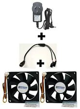 Cooling Kit w/12V DC Power Supply Adapter+Converter/Splitter Cable+2x 80mm Fan