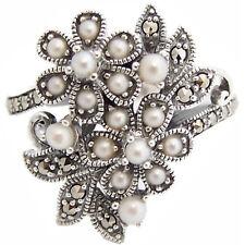 Anillo Floral Con Perla Y Marcasita ley 925 plata de Ari D Norman Nuevo