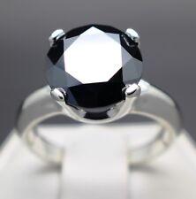 3.51cts 10.38mm Real Natural Black Diamond Ring AAA Grade & $1955 Value