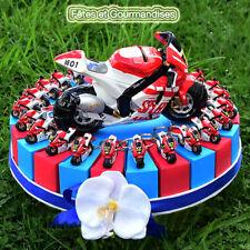 Moto sportive rouge gateau pour communion, anniversaire, dragees, bonbons