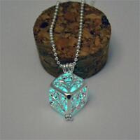 Sky Blue Glow In The Dark Magic Fairy Silver 3D Cube Locket Pendant Necklace