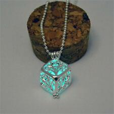 Sky Blue Glow In The Dark Magic Fairy Silver 3D Cube Locket Pendant Necklace