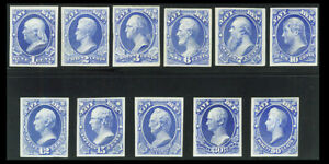 US #O35-O45P3; 1-90¢ OFFICIAL NAVY DEPARTMENT PLATE PROOFS ON INDIA, NGAI
