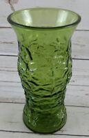VINTAGE E O BRODY GREEN CRINKLE GLASS VASE LARGE FLOWER VASE MID CENTURY RETRO