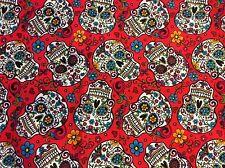 """Cotton Fabric Dia De Los Muertos Calaveras Sugar Skulls on RED, 45""""w, sold BTY"""