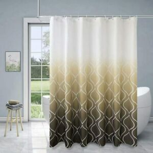Brown White Moroccan Ombre Waterproof Elegant Boho Chic Fabric Shower Curtain