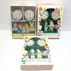 Meri Meri Cupcake Kit Lot 3 Spring Easter Bunny Cupcake Liners Toppers Picks NEW