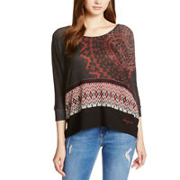 Desigual TS DUNA Red Black T Shirt Top Blouse Sweater Size S M L