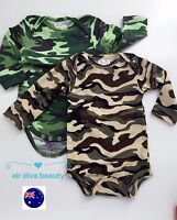 Boy Kid Baby Army Military Party Camouflage Green Camo Romper Bodysuit PROP