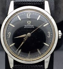 VINTAGE 1958 OMEGA AUTOMATIC CAL.470 BLACK DIAL & SS REF.14773-1 SC WRISTWATCH