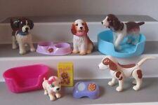 BARBIE head  BOBBIN  BOW-WOWS  DOG PUPS pets Food BED lot HTF