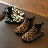 Children Kids Short Boots Girls Boys Leopard Winter Warm Booties Casual Shoes CA