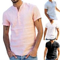 Herren Kurzarm T Shirt Leinenhemd Sommer V-Ausschnitt Freizeithemd Bluse Top Tee