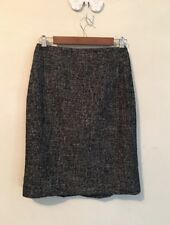 Ann Taylor Vergin Wool Black Gray Tweed Pencil Skirt Size 2