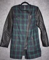 W118 BY WALTER BAKER CLASSY Sadie Green Plaid Wool Faux Trim Jacket Coat M $348
