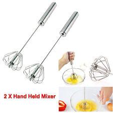 2 x Hand Held Press Mélangeur Whisker Fouet Batteur Batteur tourner Blender