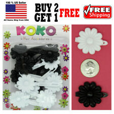 Girls Kids Black White Daisy Flower Hair Barrette Snap Clips Holder Accessories