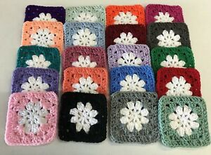"""Lot of 20 5"""" ASSORTED COLORS Crochet DAISY FLOWER GRANNY SQUARES Afghan Block"""