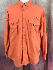 Columbia PFG Vented Long Sleeve UPF 30+ Orange Fishing Nylon Shirt Men's L