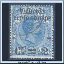 1890 Italia Regno Valevole stampe 2 su 20 cent. azzurro n. 51 Usato