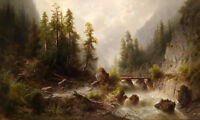Art Oil painting river crossing Grand Canyon with mountains bridge over river