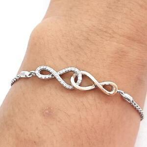 Genuine .52ctw H-SI Diamond Solid 10K Rose Gold 925 Silver Bolo Bracelet 7.3g