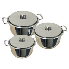 6PC INDUCTION HOB STAINLESS STEEL CASSEROLE STOCKPOT POT STEEL LIDS COOKWARE SET
