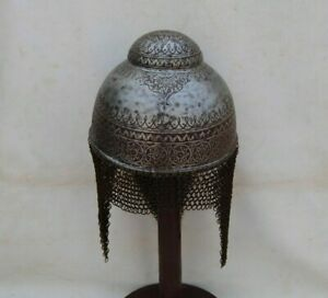 Vtg indo persian sikh warrior hand engraved helmet kulah khula khud chainmail