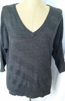 New York & Company Sweater Medium Gray 3/4 Sleeve Plunge V Neck Pullover NWT
