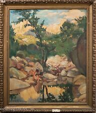 "Superb Antique German Impressionist Oil Painting ""Nude by Waters Edge"", Signed!"
