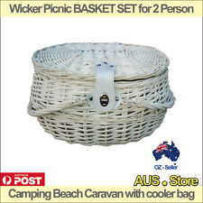 Wicker Picnic BASKET SET for 2 Person Camping Beach Caravan with cooler bag
