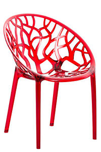 #LA95725/0107 Stapelstuhl CRYSTAL rot Kunststoffstuhl Gartenstuhl Lehnstuhl