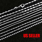 """925 Sterling Silver Plated 9 Styles Snake Chain Necklace 1mm 16"""" 18"""" 20"""" 22"""" 24"""""""