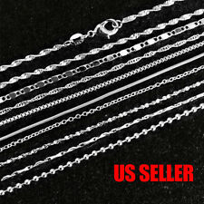925 Sterling Silver Plated 9 Styles Snake Chain Necklace 1mm 16 18 20 22 24