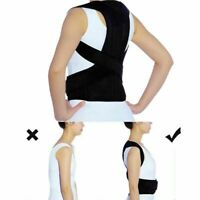 Adult Posture Corrector Corset Support Back Shoulder Adjustable Brace Belt Black