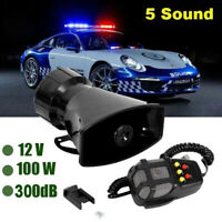 100W 12V Loud Air Horn Siren For Car Boat Van Truck 5 Sounds System Mic 300dbHQ