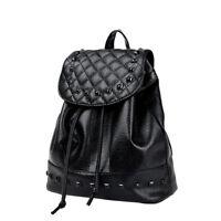 UN3F Korean Style Women PU Leather Casual Backpack Rivet Travel Bag School Bag