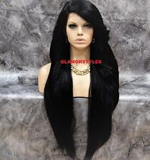 """38"""" Long Layered Off Black Full Lace Front Wig Heat Ok Hair Piece #1B NWT"""
