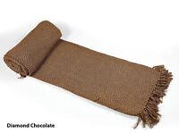 Cotton Large Diamond Hand Woven Sofa Bed Throw Blanket 150cm x 200cm Chocolate