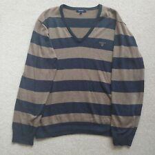 Mens GANT Jumper Size Large (L) in Navy/Sand V-Neck Long Sleeve Knit Pullover