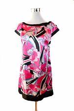 Womens Casual Summer Floral Satin Vtg Retro 60s Look Cap Sleeve Dress sz M BB6