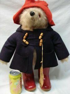 "LARGE 19 1/2"" TALL GABRIELLE 1972 VINTAGE PADDINGTON BEAR BLUE COAT RED BOOTS"