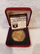 BEAUTIFUL Cal Ripken, Jr. Highland Mint Bronze Coin, Baltimore Orioles, NICE!