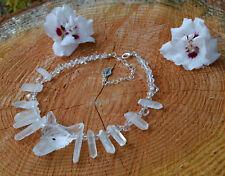 Ice Queen raw Quartz crystal wolf necklace fairy elven witch strega skadi fox