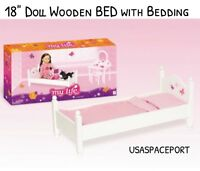 """18"""" Doll White +Pink WOOD BED and BEDDING Set for My Life As American Girl Dolls"""