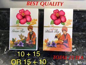 PREMIUM SAFFRON TEA BAGS 15 + 10 GREEN SAFFRON TEA  SPANISH  OR ENGLISH DESIGN