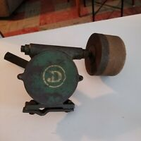 Vintage Wood Handle Mountable Grindstone Sharpening Wheel, Hand Turn, D Logo M-5
